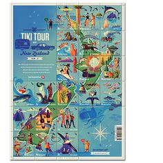 Tiki Tour - New Zealand Mail stamps Kiwiana, Susa, Exhibition Poster, Weird World, Vintage Travel Posters, Cartography, Map Art, New Zealand, History