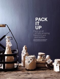 H- lots of brown paper wrapped bottles Sweet Paul Magazine - Winter 2011 - Page Paper Packaging, Food Packaging, Packaging Design, Branding Design, Simple Packaging, Product Packaging, Bottles And Jars, Mason Jars, Glass Jars
