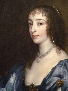 1636-1638 Henrietta Maria by Sir Anthonis van Dyck (San Diego Museum of Art - San Diego, California USA) head close up | Grand Ladies | gogm