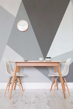 Want a modern twist on the traditional monochrome theme? This giant geometric wallpaper design is just the thing. Ideal for stylish dining room areas and the home office. /Contemporary apartments/Compact Home office ideas/