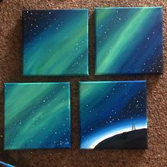 Northern lights acrylic canvas painting.