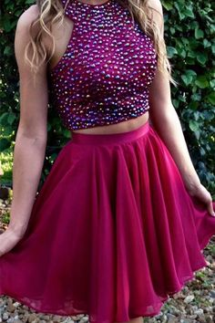 Two Pieces Beading Homecoming Dress,Sexy Party Dress,Charming Homecoming…