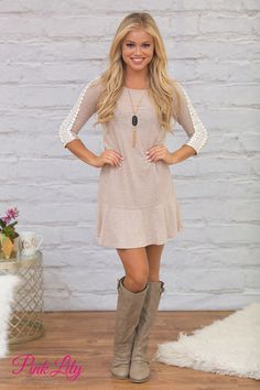 Hold onto that wonderful feeling in this gorgeous dress! Featuring a soft heather taupe material, this dress is so perfect for looking chic at any fall events!