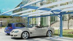 Estacion de coches electricos que se nutren del sol