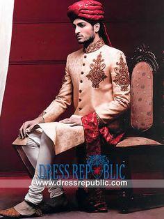 Style DRM1578 - DRM1578, Pakistani Sherwani Designers, Pakistani Sherwani Collection 2014 Toronto, Canada by www.dressrepublic.com