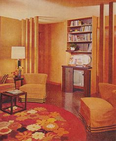 """Orange Living Room just the right sense of earthy oranges and dullness. """"Better Homes and Gardens"""" May 1969 Mid Century Living Room, Mid Century Decor, 1970s Living Room, Living Rooms, House Design Photos, Cool House Designs, Better Homes And Gardens, 1960s Home Decor, Living Room Orange"""