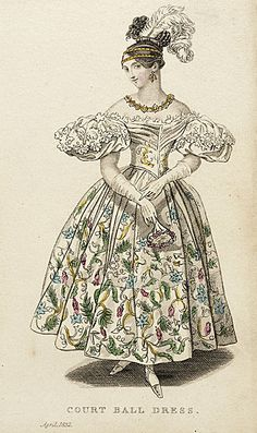 "1832 ""Court Ball Dress"" Ladies Pocket Magazine fashion plate from LACMA Collections Online - more can be seen at http://collectionsonline.lacma.org/mwebcgi/mweb.exe?request=jump;dtype=d;startat=625"