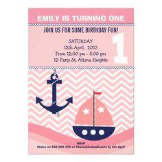 Girls Nautical 1st Birthday Invitation