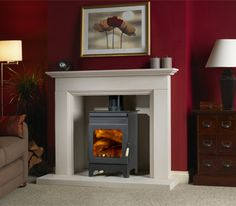 Burley Stove:Holywell 9105 stove buy now at Boston heating for lowest UK prices! Wood Interior Design, Oak Fireplace, Fireplace Logs, Pallet Patio Furniture, Fireplace, White Mantel, Wood Furniture Living Room, Burley Stove, Wood Burning Stove