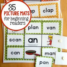 35 short vowel picture mats for beginning readers. Motivating phonics game or literacy center.