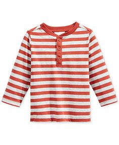 First Impressions Baby Boys' Long-Sleeve Striped Henley T-Shirt, Only at Macy's - Clearance - Kids & Baby - Macy's