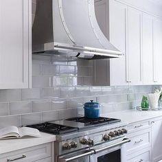 Gray Beveled KItchen Backsplash Tiles with French Hood