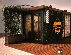 Sampa // Exhibition Stand at Behance - Design Container Restaurant, Container Cafe, Container House Design, Barber Shop Interior, Barber Shop Decor, Home Hair Salons, Home Salon, Barbershop Design, Barbershop Ideas