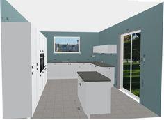 Grey Mahlzeit Kitchen Design. Tall Wall Cabinets and Quartz Worktops complete this Dream Kitchen Design. Free 3D Kitchen Planner.