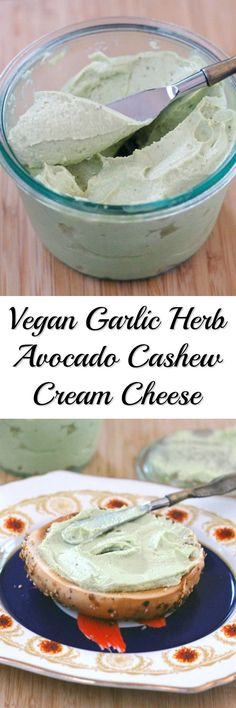 Vegan Garlic Herb Avocado Cashew Cream Cheese will take your bagels to the next level. Also Gluten-free.