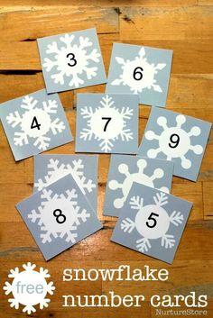 free snowflake number cards printable - use to make 'magic' numbers! Alphabet printable version too. Snow Activities, Winter Activities For Kids, Language Activities, Preschool Winter, Montessori, Winter Thema, Snow Theme, Printable Cards, Printable Alphabet