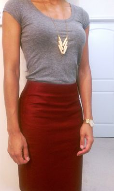 Red Pencil Skirt. Gray T.