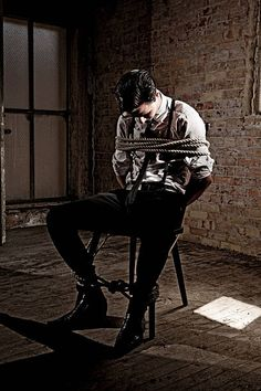 Business man tied up to a chair, held hostage. Detective Aesthetic, Daddy Aesthetic, Character Aesthetic, Pose Reference, Drawing Reference, Story Inspiration, Character Inspiration, Mafia, Man Tied Up