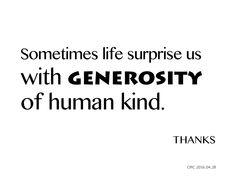 generosity of human kind
