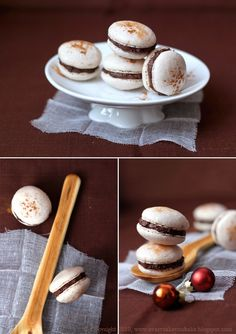 ginger macaroons with chocolate and plum filling