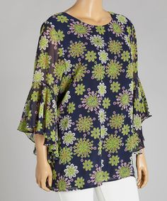 Another great find on #zulily! Navy & Green Floral Tunic - Plus by Lady Noiz #zulilyfinds