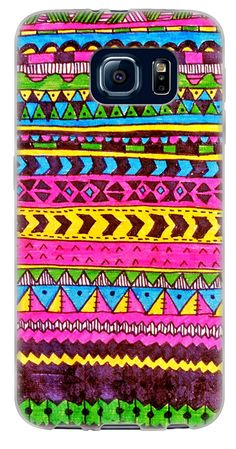 Amazon.com: {Aztec Marker Drawing} Soft and Smooth Silicone Cute 3D Fitted Bumper Back Cover Gel Case for Samsung Galaxy S6 {Color is Pink, Yellow and Purple}: Cell Phones & Accessories