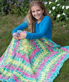 Squres in Squares Throw Free Crochet Pattern LW3984