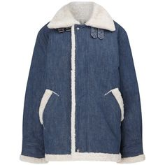 Rachel Comey Blue Denim Shearling Vigilant Jacket (30.345 RUB) ❤ liked on Polyvore featuring outerwear, jackets, blue, blue jackets, oversized denim jacket, denim jacket, zipper jacket and shearling denim jacket