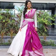 12 Innovative and Stylish Saree Draping Styles By Dolly Jain Wedding Saree Blouse Designs, Half Saree Designs, Silk Saree Blouse Designs, Fancy Blouse Designs, Dress Designs, Party Wear Indian Dresses, Indian Gowns Dresses, Indian Fashion Dresses, Indian Designer Outfits