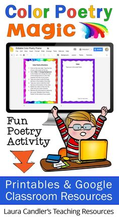 Color Poetry Magic includes an easy, step-by-step lesson for teaching kids how to write color poems. Printables and Google Classroom resources are included to give you several options for teaching the lesson. Your kids will love this poetry writing activity! #poetrylesson #poetryforkids #poetrywriting #creativewriting Writing Resources, Classroom Resources, Teaching Resources, Writing Ideas, Classroom Ideas, Teaching Kids, Elementary Teaching, Upper Elementary, Teaching Reading