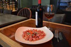 Beet Gnocchi with Salmon