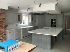 Handmade bespoke Edwardian kitchen in cornforth White and plummet from farrow and ball