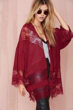 Sheer Caress Lace Kimono - Kimono      Jackets + Coats