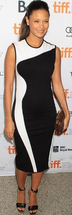 Who made Thandie Newton's black and white wave dress that she wore in Toronto?