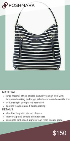 Coming soon! Grove Court Stripe Mina. Like new! Barely used and in perfect condition. More pics coming soon! Navy and white coated canvas wth pebbled leather trim. Lots of room and pockets! kate spade Bags Shoulder Bags