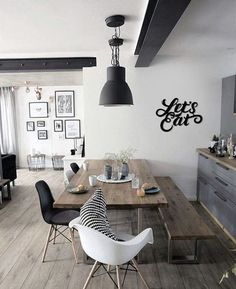48 Fabulous Scandinavian Dining Room Design Ideas That Looks Cool. Now it is easy to dine in style with traditional Swedish dining chairs. Entertain friends as well as show off your wonderful Swedish . Industrial Dining, Industrial Lighting, Modern Lighting, Interior Decorating, Interior Design, Eclectic Design, Room Interior, Decorating Ideas, Decor Ideas