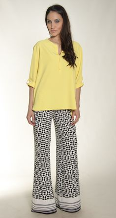 monochrome pants & yellow shirt s/s collection 2015 www.elbano.gr