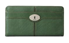 Fossil Maddox Flap Clutch Emerald Green $35.00