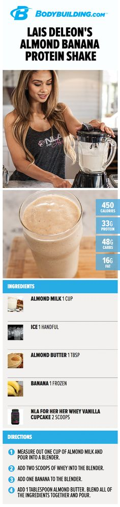 Lais DeLeon's Almond Banana Protein Shake. Whether you're short on time and can't sit down for breakfast or just hankering for a super smoothie, this delicious almond banana protein shake will save you!