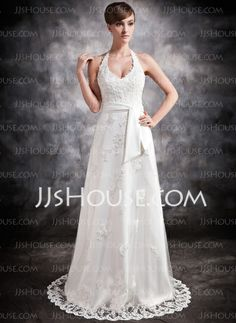 Wedding Dresses - $186.69 - A-Line/Princess Halter Court Train Satin Tulle Wedding Dress With Lace Beadwork (002016896) http://jjshouse.com/A-Line-Princess-Halter-Court-Train-Satin-Tulle-Wedding-Dress-With-Lace-Beadwork-002016896-g16896