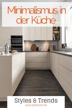 Minimalismo en la cocina - 6 consejos para la paz y la claridad - Spitzhüttl Home Company - Möbelhaus bei Würzburg, Kitchen Nook, Diy Kitchen, Kitchen Decor, Kitchen Cabinets, Minimalist Apartment, Minimalist Kitchen, Interior Design Living Room Warm, Living Room Decor, Cocina Diy