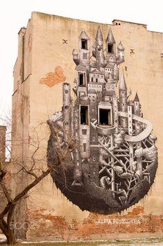 Mural Castle - Mural Castle, Warsaw, Poland, Mińska 12. StreetArt Doping 2013, designed by Phlegm