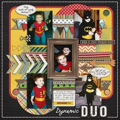 Dynamic Duo - Scrapbook.com    So cute! Love how the colors pop and match with the costumes even!