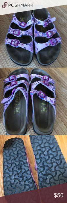 Birkenstock Florida Papilliohash 8 39 250 used. Birko Floor. L8 39. Pink/purple. Super cute. Birkenstock Shoes Sandals
