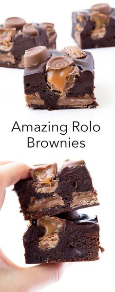 The most AMAZING brownies with caramel caramel Rolos baked INSIDE the brownie with a gooey dark chocolate ganache frosting! The most AMAZING brownies with caramel caramel Rolos baked INSIDE the brownie with a gooey dark chocolate ganache frosting! Rolo Brownies, Best Brownies, Baking Brownies, Just Desserts, Delicious Desserts, Yummy Treats, Dessert Recipes, Yummy Food, Sweet Treats