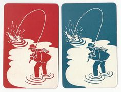 Lets go Fishing - set of 4  single vintage swap playing cards - / #Vintage