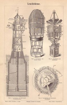 Split rock lighthouse architectural blueprint art print duluth lighthouse plan original 1895 architecture print cross section wall art 120 years old german antique engraving illustration a774 malvernweather Choice Image