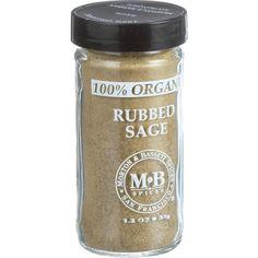Morton And Bassett 100% Organic Seasoning Rubbed Sage 1.2 Oz Case Of 3