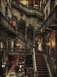wonderful gothic interior of Danieli Hotel, Venice, Italy