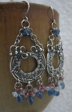 Blue, Red, White, Gray, Wire Wrapped Gemstone Earrings in Sterling Silver